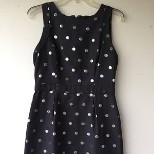 NWT Elle Cocktail Dress Black Silver Polka Dot